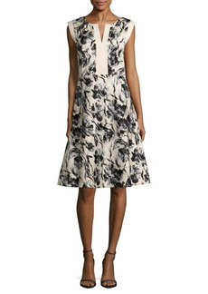 Lafayette 148 New York Floral Cap-Sleeve Dress