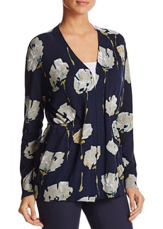 Lafayette 148 New York Floral Print Open-Front Cardigan