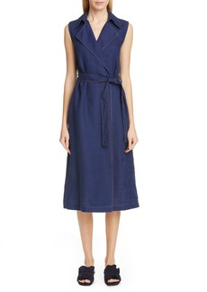 Lafayette 148 New York Florence Belted A-Line Linen Wrap Dress