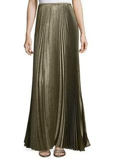 Lafayette 148 New York Florianna Bijoux Pleated Metallic Maxi Skirt