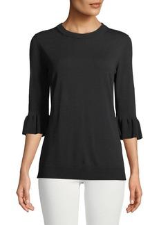 Lafayette 148 New York Flounce-Sleeve Matte Crepe Sweater