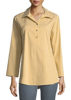 Lafayette 148 New York Franca Striped Long-Sleeve Half-Button Blouse