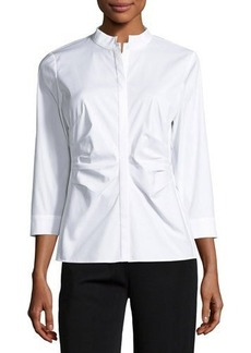 Lafayette 148 New York Frederica Ruched Poplin Top
