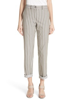 Lafayette 148 New York Fulton Desert Stripe Cotton & Linen Pants