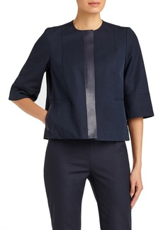 Lafayette 148 New York Gabardine Tech Stretch Collarless Topper
