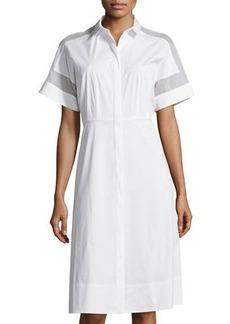 Lafayette 148 New York Galiana Sheer-Inset Shirtdress