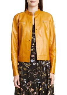 Lafayette 148 New York Galicia Glazed Lambskin Leather Jacket