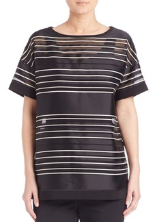 Lafayette 148 New York Gaze Stripe Jacquard Blouse