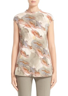 Lafayette 148 New York 'Gene' Print Bias Cut Silk Blouse