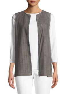 Lafayette 148 Genesis Luxuriant Perforated Lamb Suede Vest