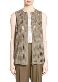 Lafayette 148 New York Genesis Perforated Suede Vest