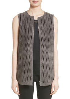 Lafayette 148 New York Genesis Perforated Suede Vest (Nordstrom Exclusive)
