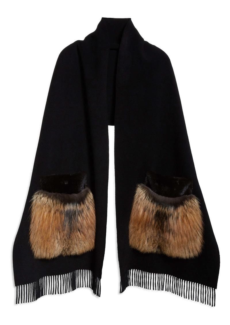 Lafayette 148 New York Genuine Mink or Fox Fur Pocket Cashmere Scarf