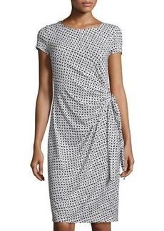 Lafayette 148 New York Geometric-Print Side-Knot Dress