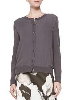 Lafayette 148 New York Georgette Overlay Knit Cardigan