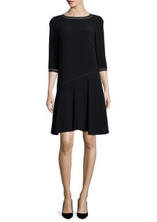 Lafayette 148 New York Georgia 3/4-Sleeve Dress W/Mesh Trim