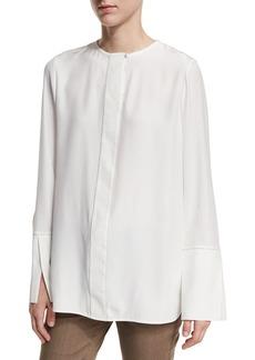 Lafayette 148 New York Georgie Long-Sleeve Chain-Trim Silk Blouse