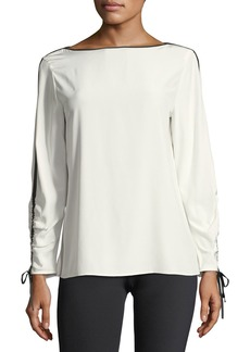 Lafayette 148 New York Georgina Blouse w/Contrast Tipping