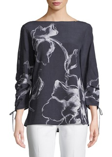 Lafayette 148 Georgina Desert Bloom Silk Blouse
