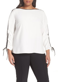 Lafayette 148 New York Georgina Matte Silk Blouse (Plus Size)