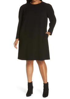 Lafayette 148 New York Gia Long Sleeve Finesse Crepe Shift Dress (Plus Size)