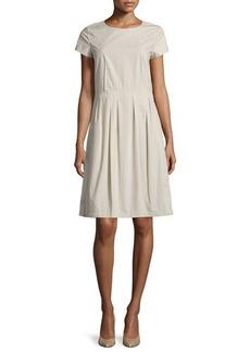 Lafayette 148 New York Gina Short-Sleeve Pleated Dress
