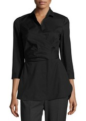 Lafayette 148 New York Ginger 3/4-Sleeve Wrap Blouse