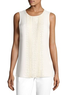 Lafayette 148 New York Gio Beaded Silk Double Georgette Blouse