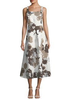Lafayette 148 Glistening Garden Sleeveless A-Line Dress