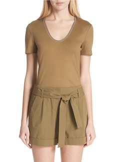 Lafayette 148 New York Grace Chain Trim Top