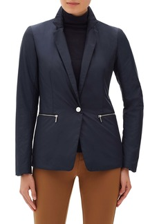 Lafayette 148 New York Grady Jacket with Hooded Rib Knit Dickey