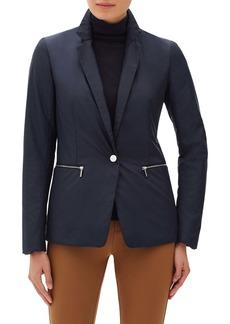 Lafayette 148 New York Grady Jacket with Hooded Rib Knit Dickey