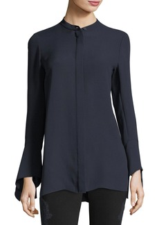 Lafayette 148 New York Graydon Bell-Sleeve Silk Blouse
