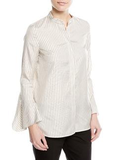 Lafayette 148 New York Graydon Striped Silk-Blend Blouse