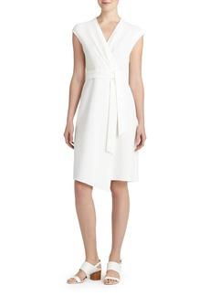 Lafayette 148 New York 'Grayson' Mixed Media Faux Wrap Dress