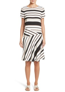 Lafayette 148 New York Greta Stripe Drop Waist Dress