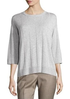 Lafayette 148 New York Grid-Stitch Sweater Top
