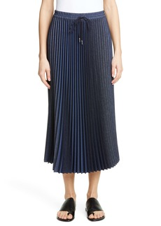 Lafayette 148 New York Gwenda Pleated Denim Midi Skirt
