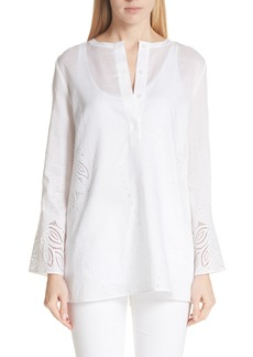 Lafayette 148 New York Haisley Embroidered Gemma Cloth Blouse