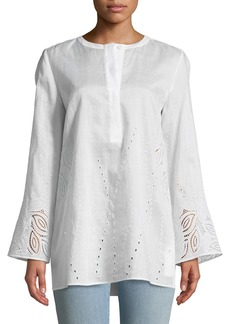 Lafayette 148 Haisley Gemma Cloth Blouse with Eyelet Trim