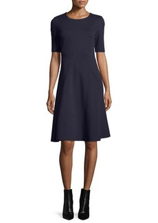 Lafayette 148 Half-Sleeve Fit-and-Flare Dress