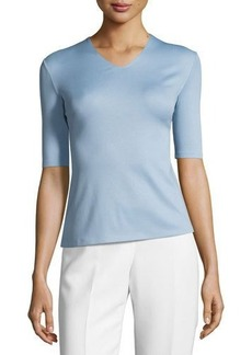 Lafayette 148 New York Half-Sleeve Framed V-Neck Top