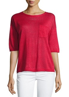 Lafayette 148 New York Half-Sleeve Linen Top
