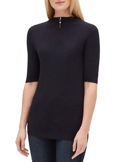 Lafayette 148 New York Half-Sleeve Rib-Knit Sweater