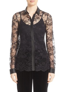 Lafayette 148 New York 'Harla' Faux Leather Trim Lace Blouse