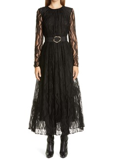 Lafayette 148 New York Hayden Wave Lace Belted Long Sleeve Dress