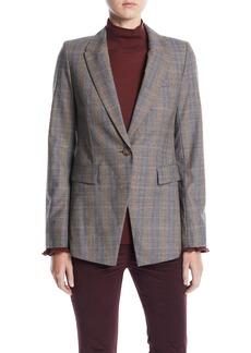 Lafayette 148 New York Heather One-Button Eloquent Plaid Jacket