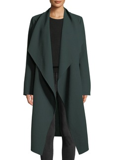 Lafayette 148 New York Hemingway Draped Open-Front Wool Crepe Coat