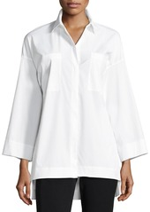 Lafayette 148 New York Hensley Stretch-Cotton Blouse