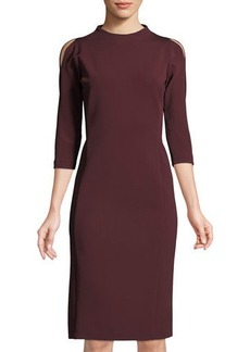 Lafayette 148 New York High-Neck Cold-Shoulder Ponté-Knit Dress
